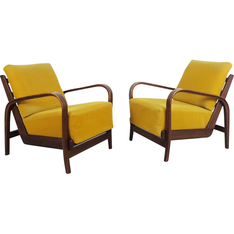 Set of 2 vintage yellow armchairs by Kozelka, 1940s