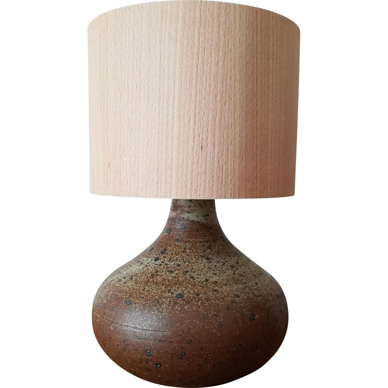 Vintage ceramic and wood lamp, 1960s