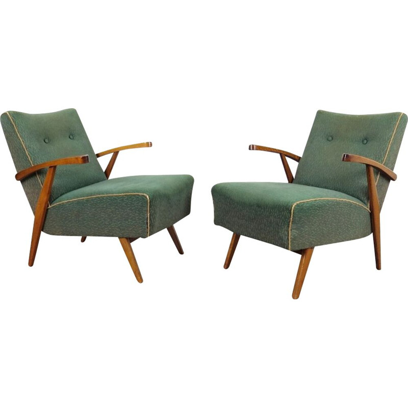 Set of 2 vintage green armchairs, 1960s
