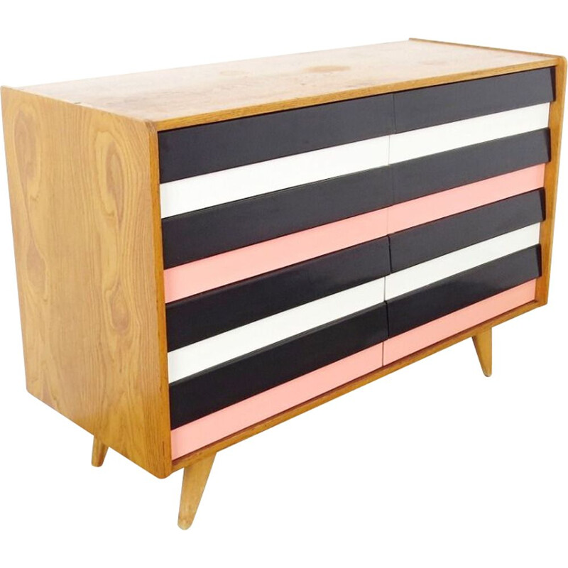 Vintage striped chest of drawers by Jiri Jiroutek, 1960s
