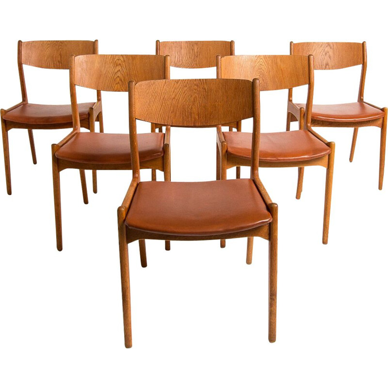 Set of 6 vintage dining chairs in oak and leather, Denmark, 1950s
