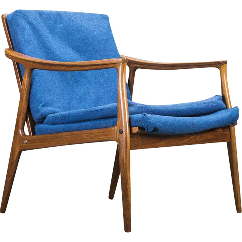 Vintage teak and blue fabric armchair, 1960s