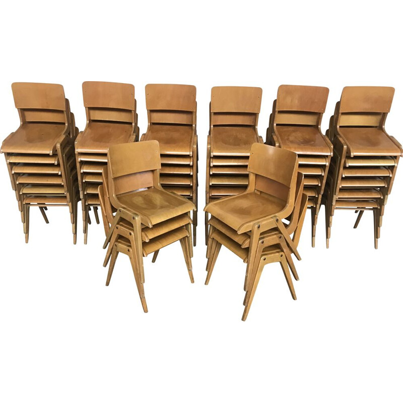 Set of 42 Vintage chairs, modernist spirit, 1950-60s