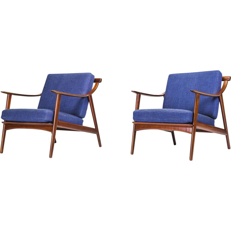 Set of 2 vintage MK 119 teak armchairs by Arne Hovmand-Olsen for Mogens Kold, 1960