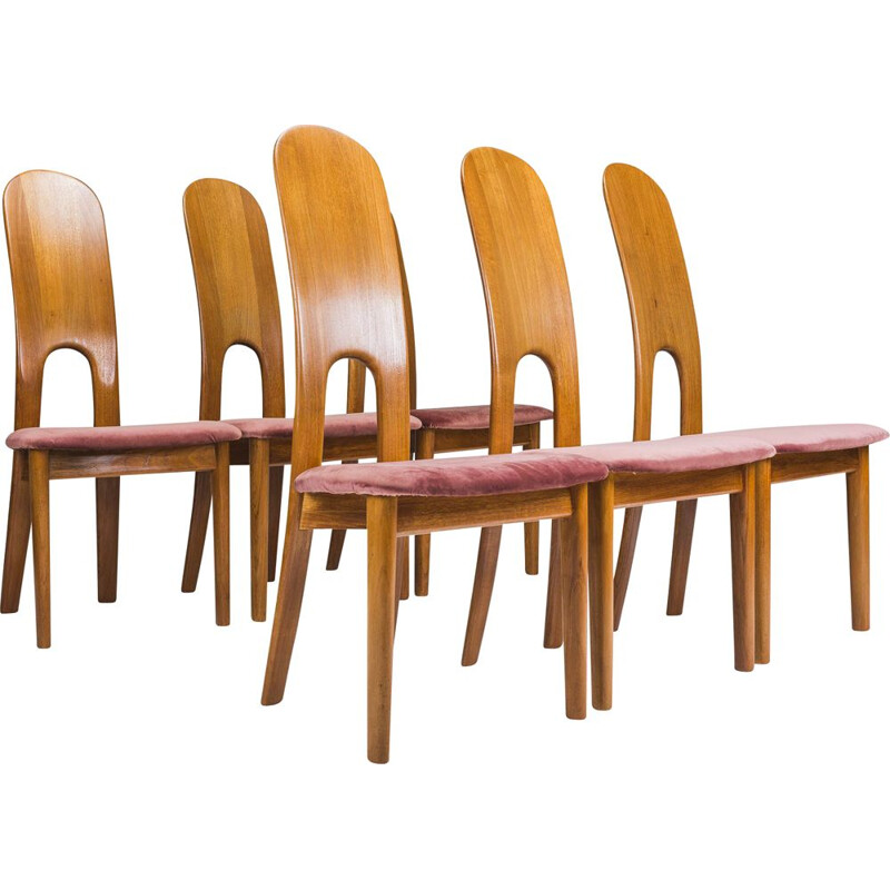 Set of 6 vintage danish teak dining chairs by Koefloeds Hornslet, 1970
