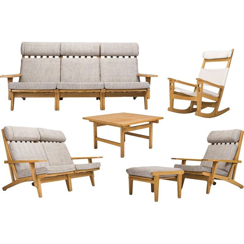 Vintage GE-375 living room set by Hans J Wegner for Getama, 1960