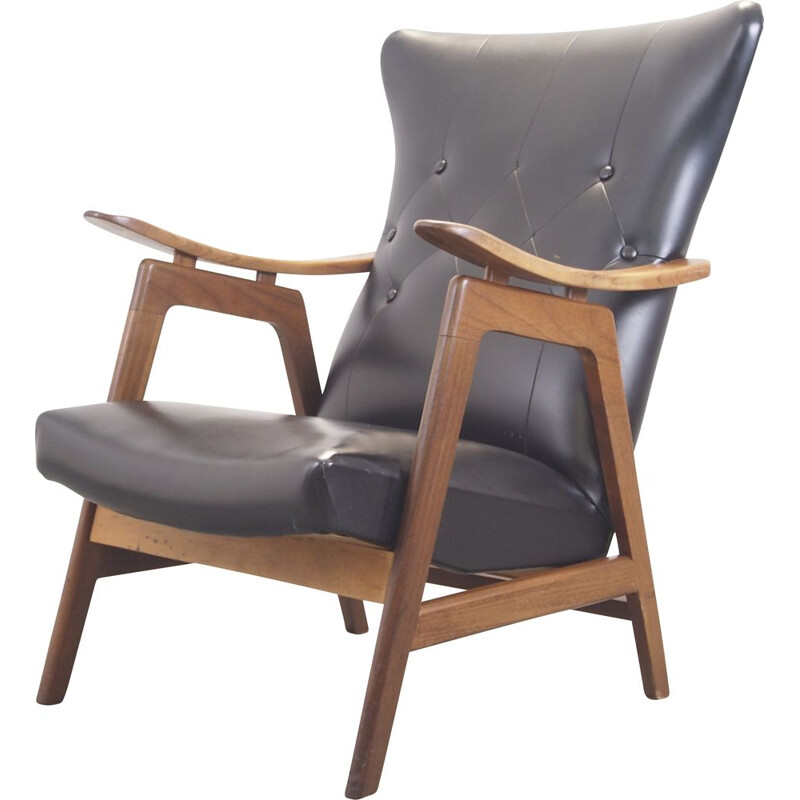 Vintage teak and black padded lounge chair 1950
