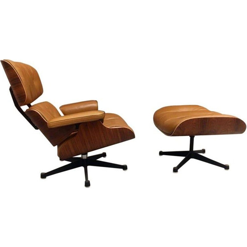 Charles and Ray Eames lounge vintage chair and Ottoman in cognac leather and rosewood for Furniture International 1975