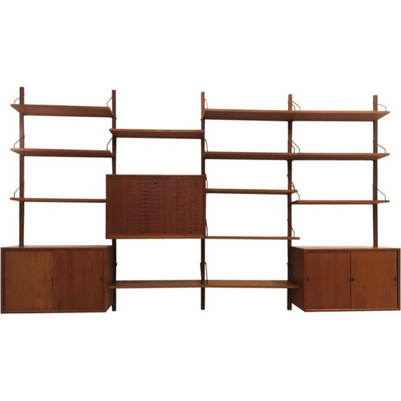 Vintage royal System modular wall shelf in Denmark teak for Cadovious 1960