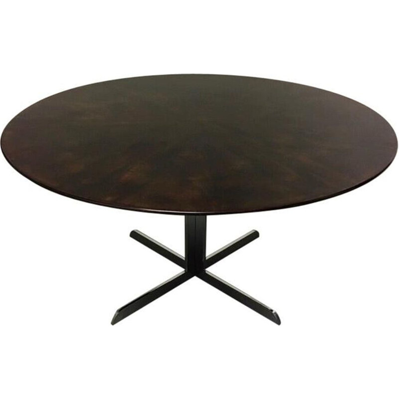 Vintage dining table produced by Knoll International ebony veneer  and chrome foot 1970