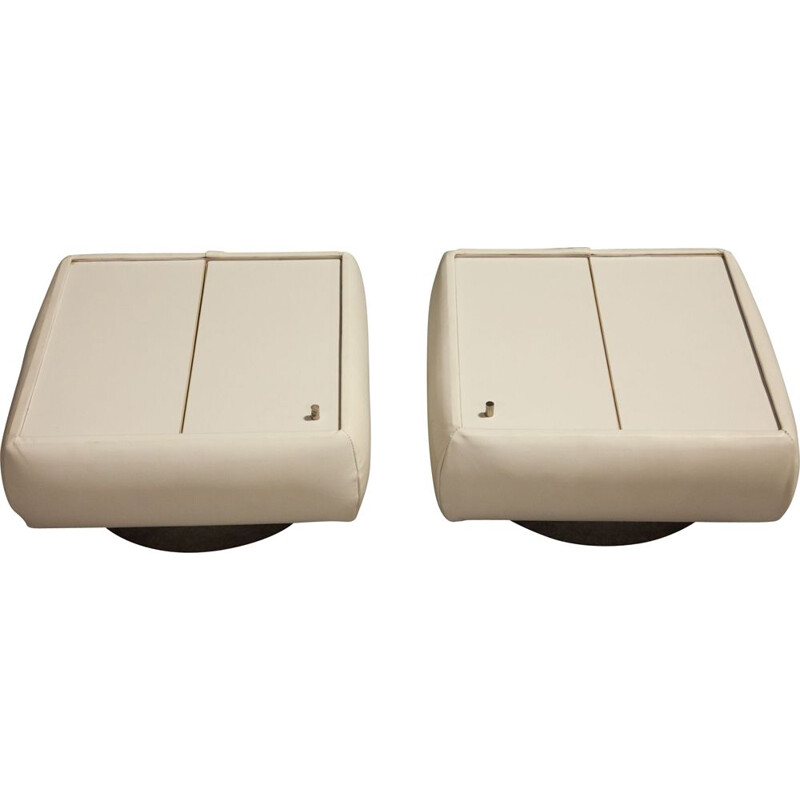 Pair of vintage white leather bedsides, 1970