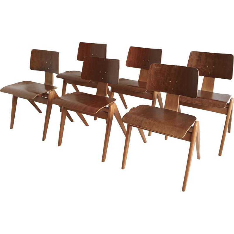 """Vintage Set of 6 """"Hillestak"""" Chairs by Robin Day for Hille, 1950"""