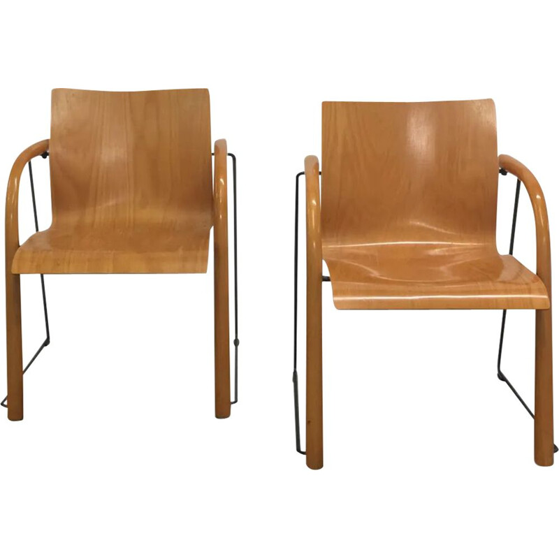 Pair of vintage chairs in wood and metal by Thonet, 1980