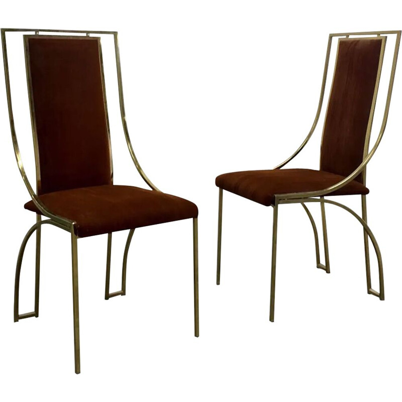 Pair of vintage chairs in gold metal 1970