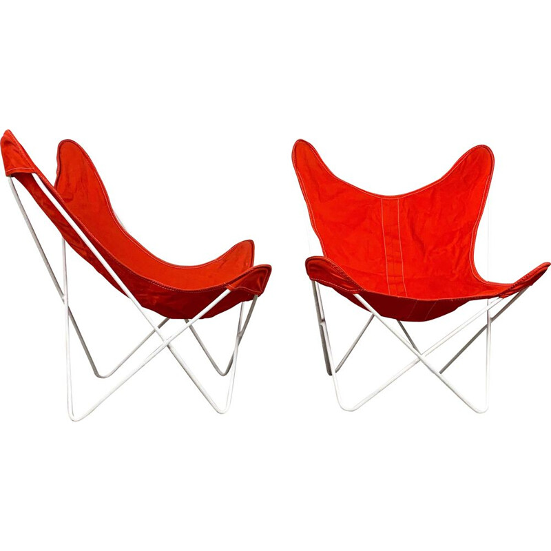 Vintage Pair of Butterfly lounge chairs by Jorge Ferrari Hardoy, 1950s
