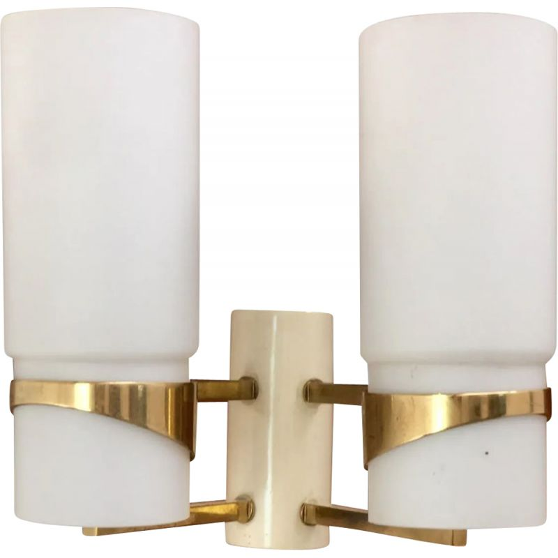 Vintage wall light in brass and opaline, 1960s