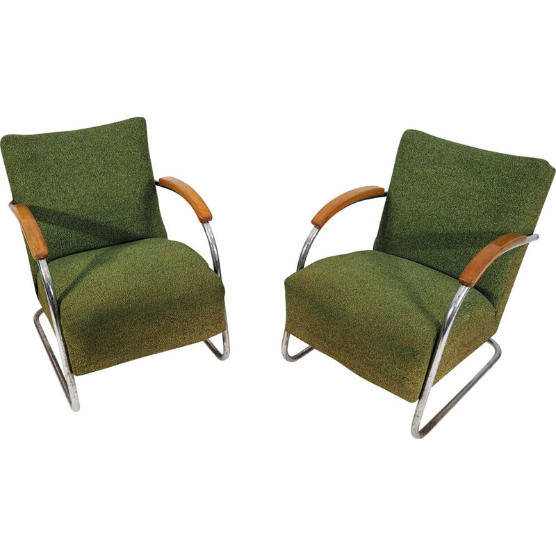 Set of 2 vintage green armchairs from Mücke Melder, 1940s