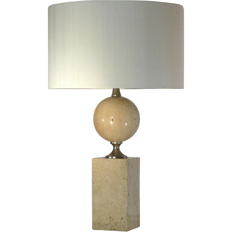 Vintage lamp in travertine by Philippe Barbier, 1970s