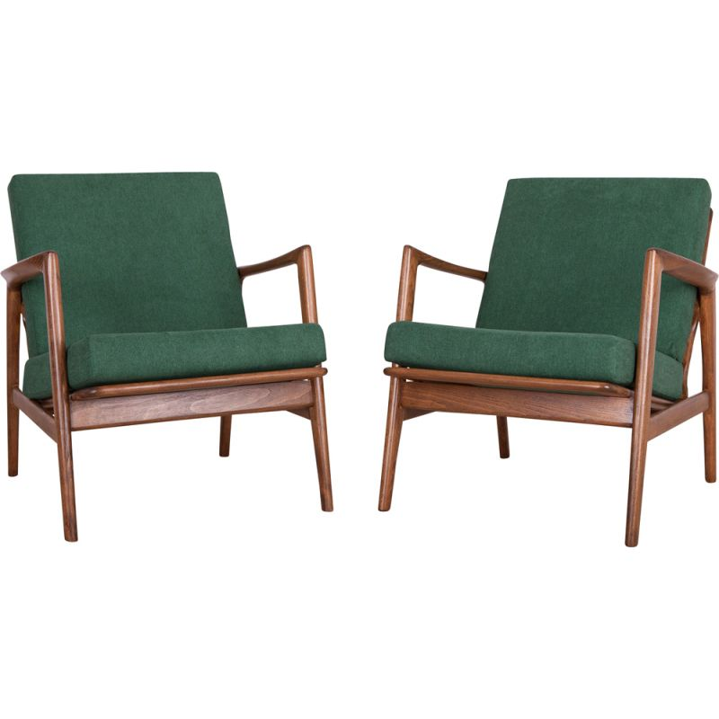Set of 2 vintage 300-139 armchairs by Swarzędzka Factory, 1960s