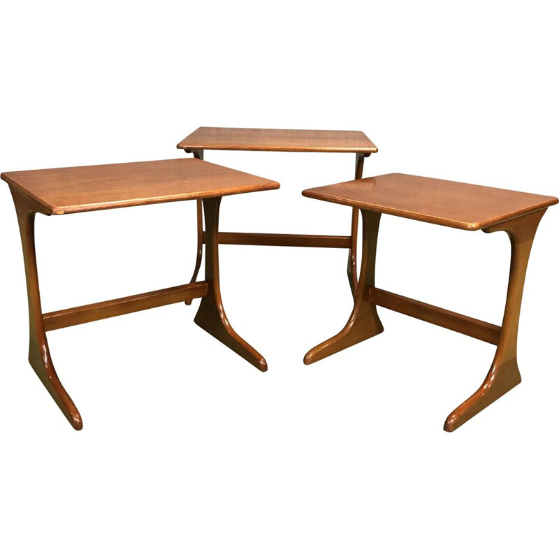 Suite of 3 vintage teak nest tables 1970