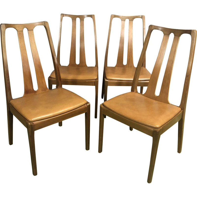 Set of 4 vintage chairs in teak and skai 1970