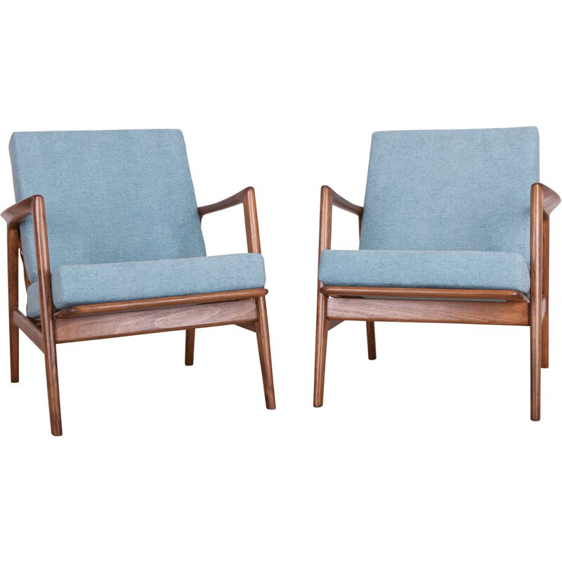Set of 2 vintage armchairs 300-139 by Swarzędzka factory 1960