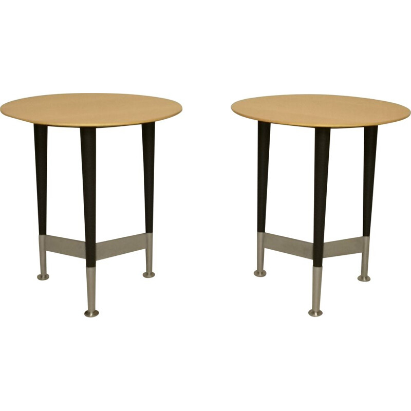 Pair of vintage pedestal tables by Michel Boyer, 1990