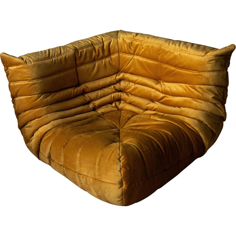 "Vintage metal gold ""Togo"" corner sofa by Michel Ducaroy"