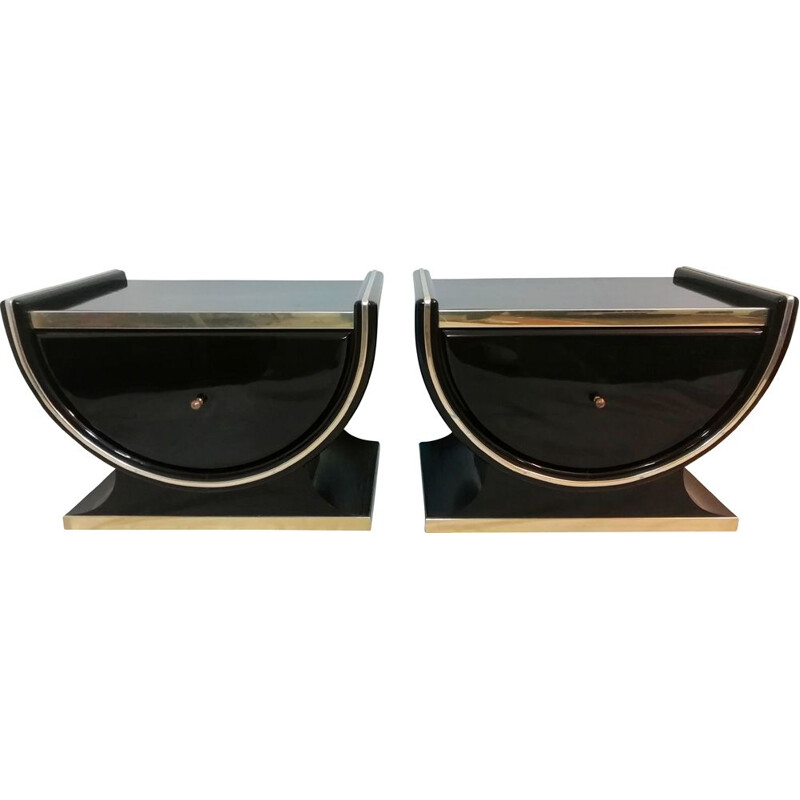 Vintage pair of bedside tables with gold metallic trim