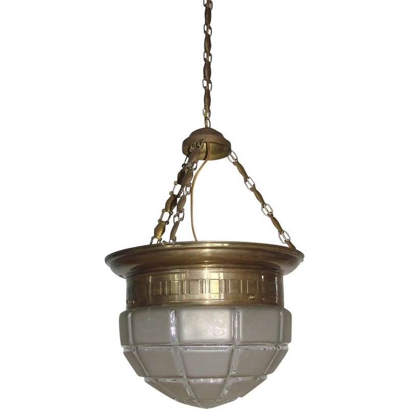 Vintage hanging lamp in brass and glass, Secession 1900-1910