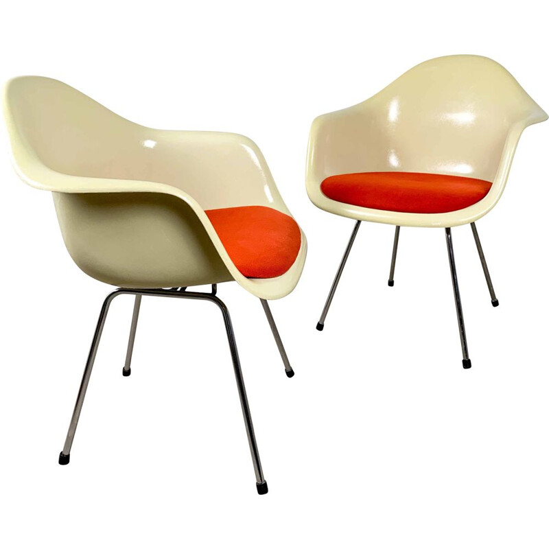 Pair of fiberglass DAX Arm Chairs by Charles & Ray Eames for Herman Miller, 1980s
