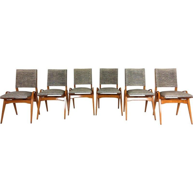 Set of 6 vintage chairs by Maurice Pré 1950