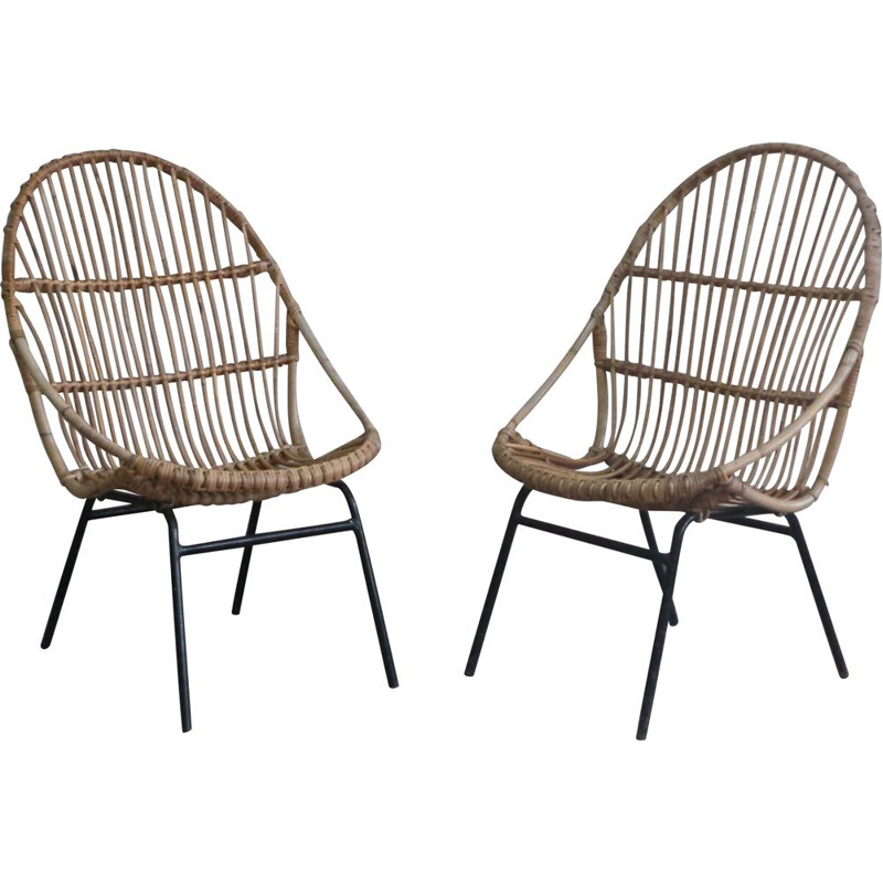 Pair of vintage rattan armchairs by Alan Fuchs for Uluv, 1960