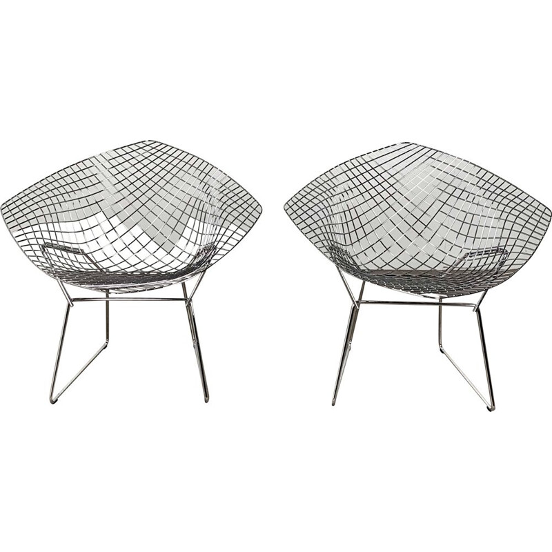 Set of 2 diamond chairs by Harry Bertoia for Knoll 1990