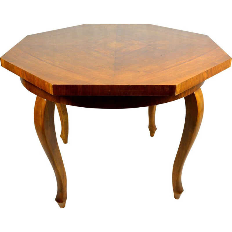 Vintage octagonal chippendale table, France, 1930