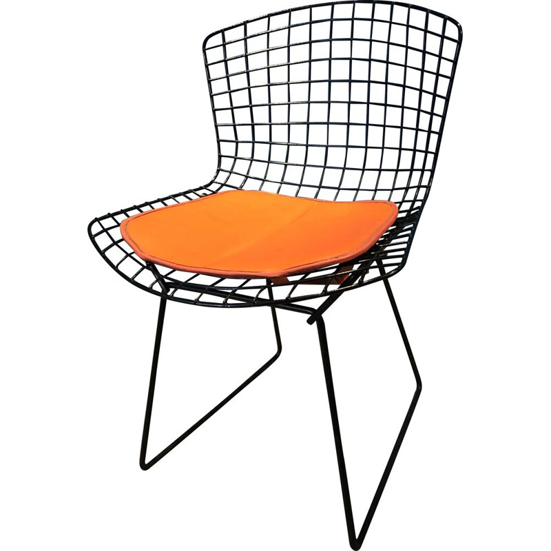 Vintage orange and black chair by Harry Bertoia