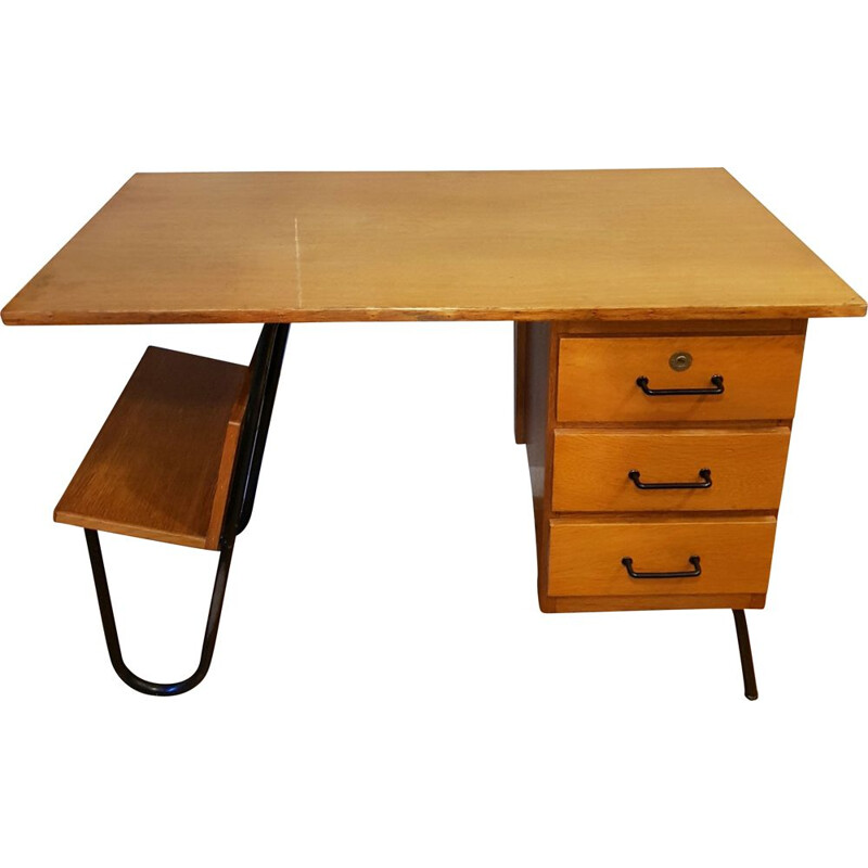 Vintage oak desk by Jacques Hitier for Spirol, 1950s