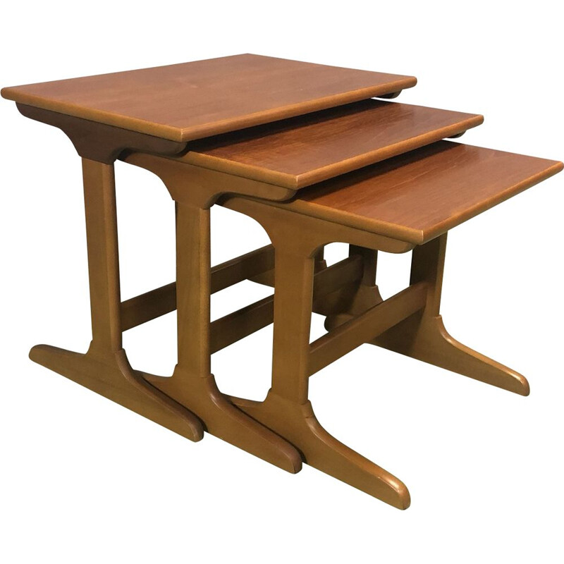 Suite of 3 vintage teak nesting tables 1970