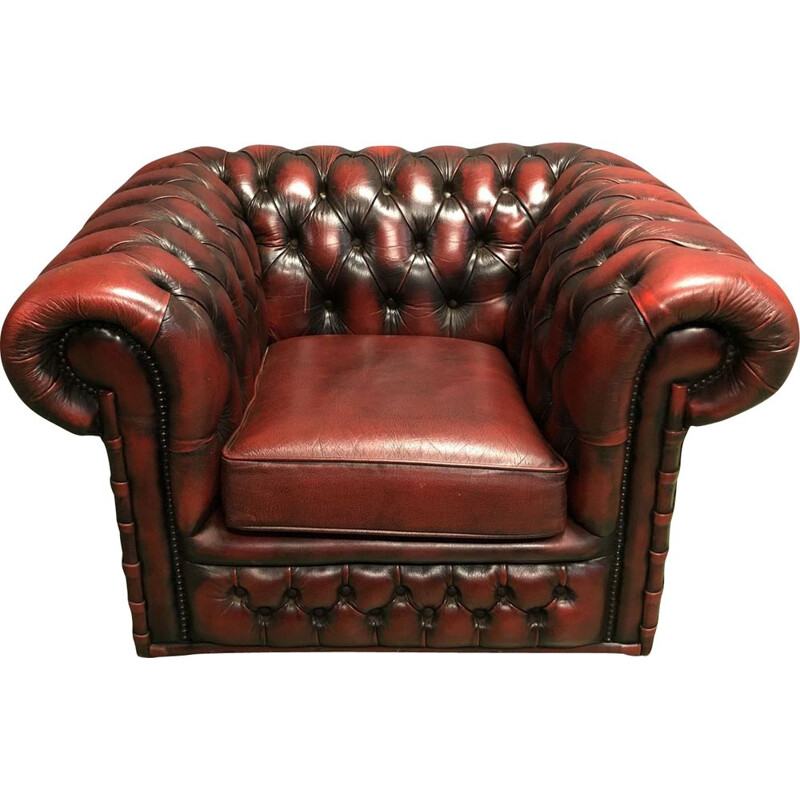 Chesterfield red leather armchair - 70's
