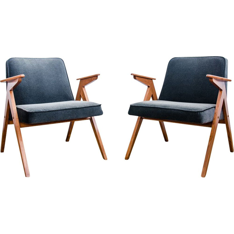 "Pair of vintage Type 300-177 ""Bunny"" armchairs, Poland, 1970"