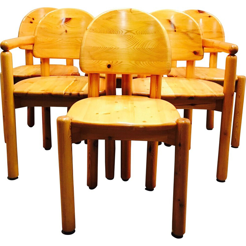Set of 4 chairs and 2 solid pine armchairs by Rainer Daumiller 1970