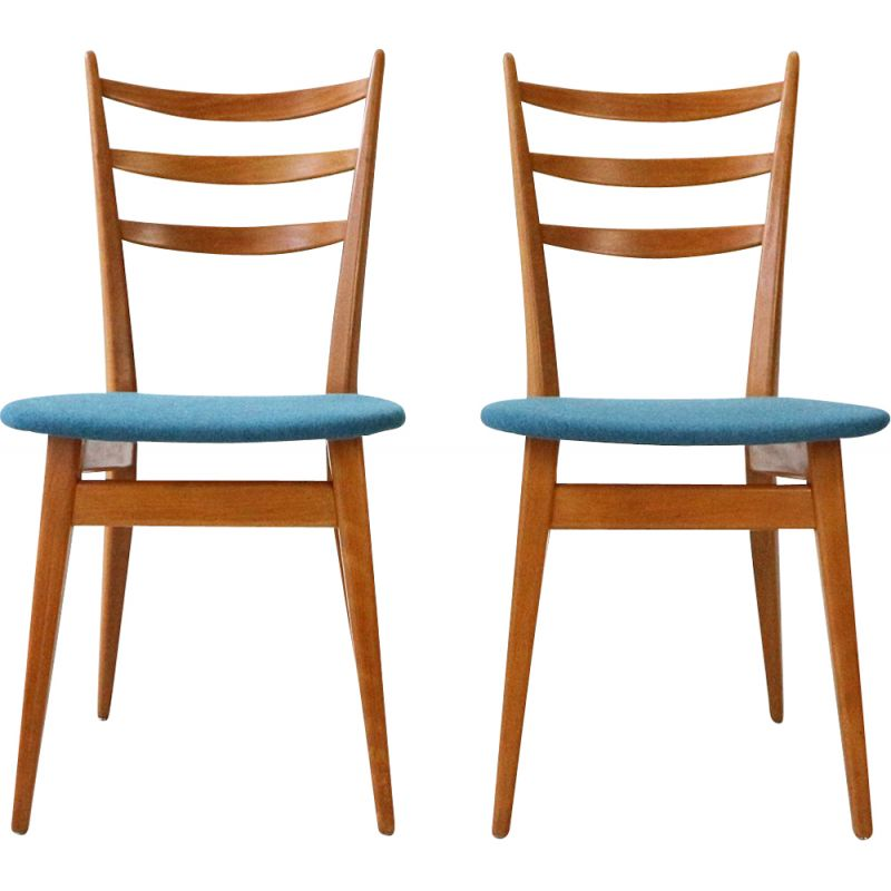 Pair of '50s Beechwood Dining Chairs, Reupholstered