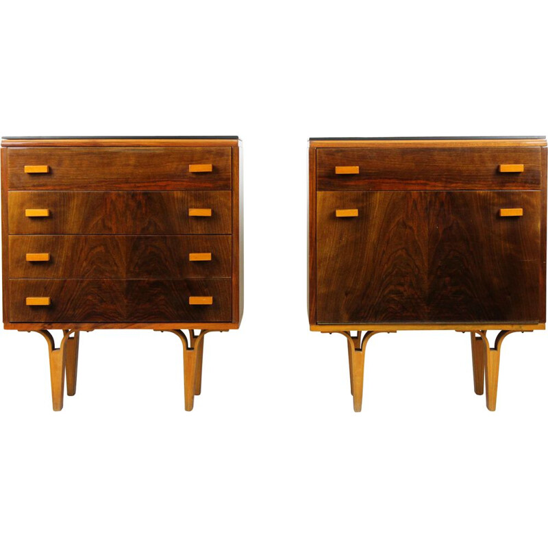 Black Glass and Plywood Nightstands from Novy Domov NP, 1970s, Set of Two
