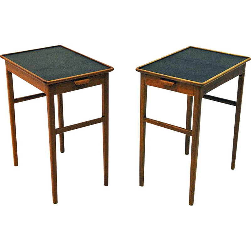 Pair of Birch side tables with leather tops by Bodafors, Sweden 1950s