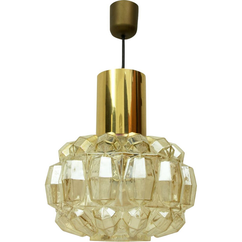 German brass and glass pendant lamp by Helena Tynell for Glashütte Limburg, 1960s