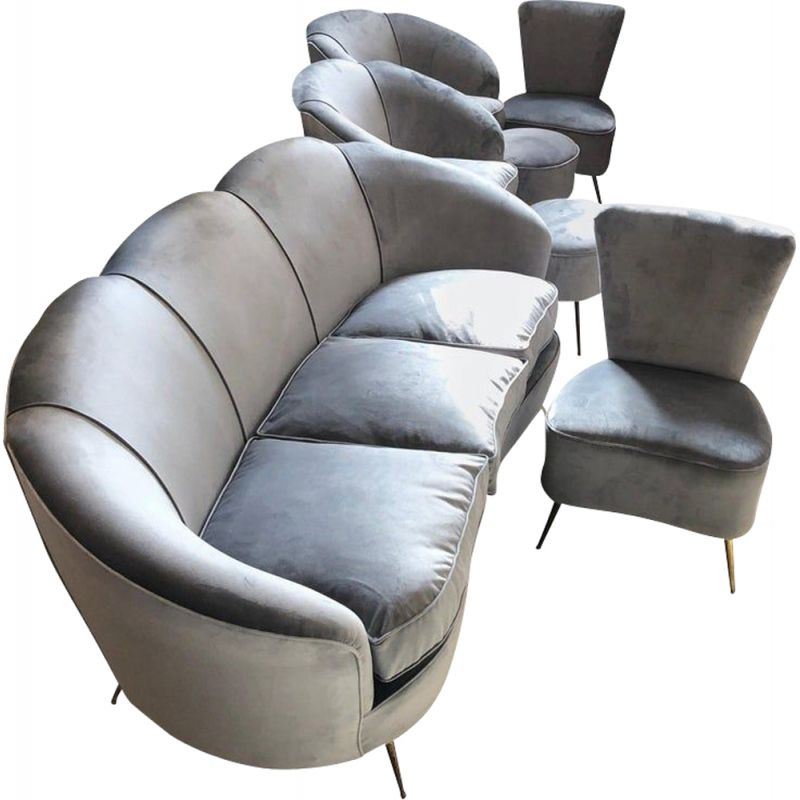 Mid-Century Modern Grey Velvet Sofa, Armchairs, Chairs and Poufs, circa 1950