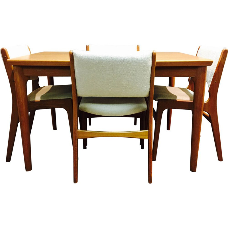 Ensemble teck 1950 design scandinave table haute et 4 chaises.
