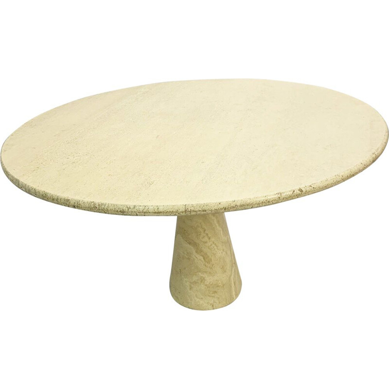 Vintage round dining table in travertine