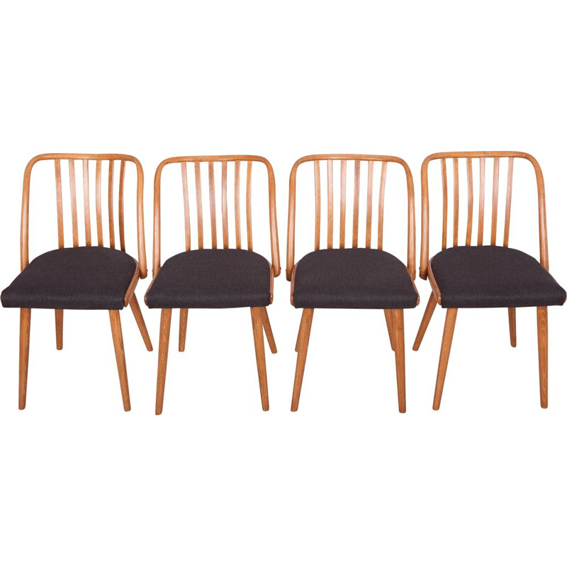 Black Dining Chairs by Antonin Suman for Ton, 1960s, Set of 4