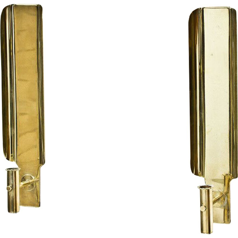 Pair of brass swedish vintage wall candlesticks by Hans-Agne Jakobsson,1960s